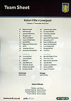 Football - 2019 / 2020 EFL Carabao (League) Cup - Quarter-Final: Aston Villa vs. Liverpool<br /> <br /> The team sheet for the match , naming an entire Liverpool Youth / U23 team plus substitutes, at Villa Park.<br /> <br /> COLORSPORT/ANDREW COWIE