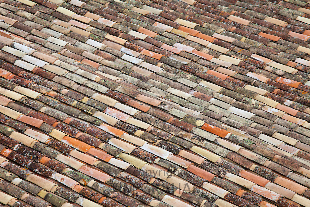 Terracotta tiles rooftops of St Emilion in the Bordeaux region of France