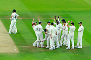 Wicket - Jofra Archer of England celebrates taking his first test match wicket of Cameron Bancroft of Australia after the review was ruled in Englands favour during the International Test Match 2019 match between England and Australia at Lord's Cricket Ground, St John's Wood, United Kingdom on 16 August 2019.