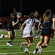 23 March 2018: San Diego State Aztecs midfielder Jill Haight takes the ball in for a shot from the free position in the first half. The Aztecs beat the Lady Flames 11-10 Friday night. <br /> More game action at sdsuaztecphotos.com