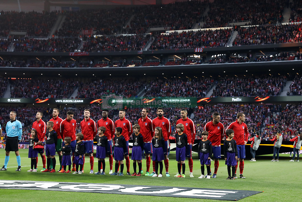May 3, 2018 - Madrid, Spain - PLAYERS of Atletico de Madrid pictured during the team line up ahead of the UEFA Europa League, semi final, 2nd leg football match between Atletico de Madrid and Arsenal FC on May 3, 2018 at Metropolitano stadium in Madrid, Spain (Credit Image: © Manuel Blondeau via ZUMA Wire)