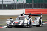 Timo Bernhard (DEU) / Mark Webber (AUS) / Brendon Hartley (NZL) #1 Porsche Team Porsche 919 Hybrid, during Free Practice 2  as part of the WEC 6 Hours of Silverstone 2016 at Silverstone, Towcester, Northamptonshire, United Kingdom. April 15 2016. World Copyright Peter Taylor. Copy of publication required for printed pictures.