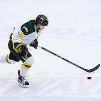2nd year forward Gray Marr(19) of the Regina Cougars in action during the Men's Hockey Home Game on October 28 at Co-operators arena. Credit: Arthur Ward/Arthur Images