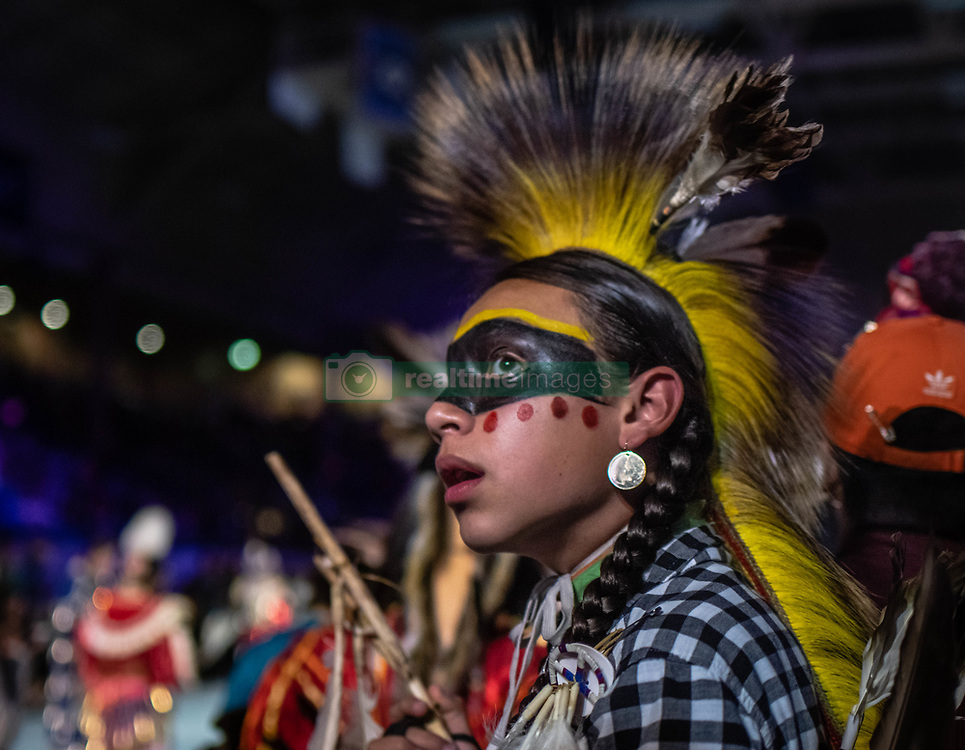 April 27, 2019 - Albuquerque, New Mexico, U.S. - 14 year-old Chayton Hoskins of Lee Anders, Texas waits to perform in the Team Boys Traditional dance category  Saturday afternoon at the Gathering Of Nations in Albuquerque. (Credit Image: © Roberto E. Rosales/Albuquerque Journal via ZUMA Wire)