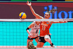 11–01-2020 NED: Semi Final Olympic qualification tournament women Germany - Netherlands, Apeldoorn<br /> First semi final match Germany - Netherlands 3-0 / Nika Daalderop #19 of Netherlands
