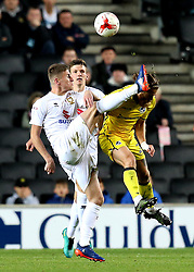 Stuart Sinclair of Bristol Rovers challenges Ryan Colclough of Milton Keynes Dons for the ball - Mandatory by-line: Robbie Stephenson/JMP - 18/10/2016 - FOOTBALL - Stadium MK - Milton Keynes, England - Milton Keynes Dons v Bristol Rovers - Sky Bet League One