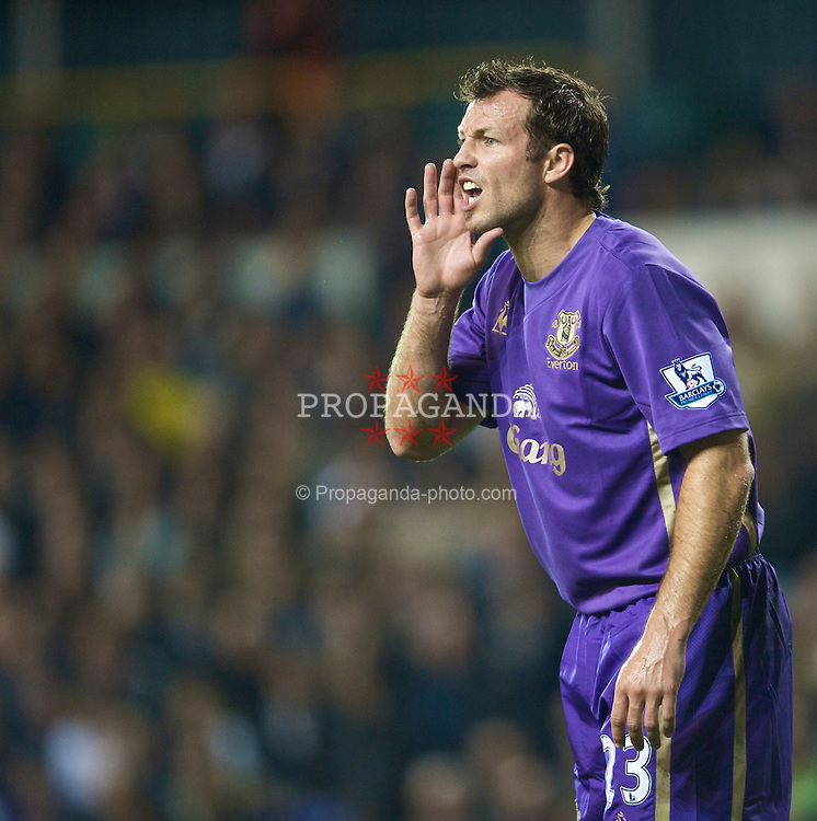 LONDON, ENGLAND - Tuesday, October 27, 2009: Everton's Lucas Neill in action against Tottenham Hotspur during the League Cup 4th Round match at White Hart Lane. (Photo by David Rawcliffe/Propaganda)