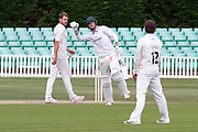 Tom Taylor celebrates the win in the Bob Willis Trophy match between Lancashire County Cricket Club and Leicestershire County Cricket Club at Blackfinch New Road, Worcester, United Kingdom on 4 August 2020.