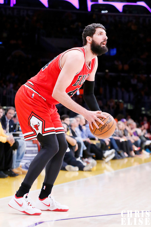 29 January 2015: Chicago Bulls forward Nikola Mirotic (44) eyes the basket during the Los Angeles Lakers 123-118 2OT victory over the Chicago Bulls, at the Staples Center, Los Angeles, California, USA.