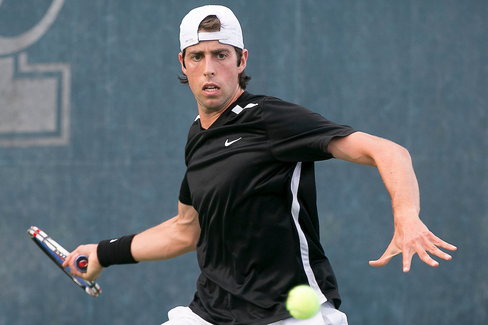 August 15, 2014, New Haven, CT:<br /> Alexander Centenari hits a forehand during a US Open National Playoff match against Punch Maleka during the 2014 Connecticut Open at the Yale University Tennis Center in New Haven, Connecticut Friday, August 15, 2014.<br /> (Photo by Billie Weiss/Connecticut Open)