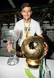 Rok Kronaveter of NK Olimpija posing with a trophies and a medal after winning during football match between NK Aluminij and NK Olimpija Ljubljana in the Final of Slovenian Football Cup 2017/18, on May 30, 2018 in SRC Stozice, Ljubljana, Slovenia. Photo by Vid Ponikvar / Sportida