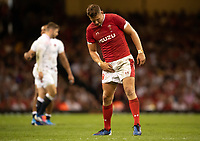 Rugby Union - 2019 pre-Rugby World Cup warm-up (Under Armour Summer Series) - Wales vs. England<br /> <br /> Wales' Dan Biggar checks his groin, at Principality (Millennium) Stadium.<br /> <br /> COLORSPORT/ASHLEY WESTERN