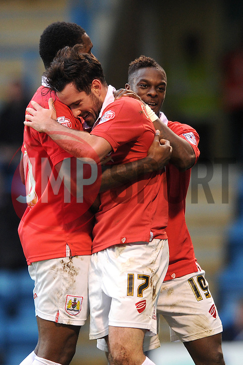 Bristol City's Greg Cunningham celebrates his goal with Bristol City's Jay Emmanuel-Thomas and Bristol City's Kieran Agard - Photo mandatory by-line: Dougie Allward/JMP - Mobile: 07966 386802 - 08/11/2014 - SPORT - Football - Gillingham - Priestfield Stadium - Gillingham v Bristol City - FA Cup - Round One