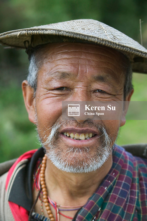 Portrait of an elderly farmer, Bhutan