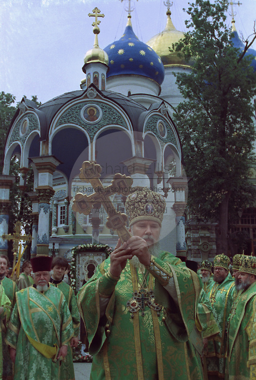 Alexius II, Patriarch of the Russian Orthodox Church during a ceremony at Trinity Monastery of St. Sergius.