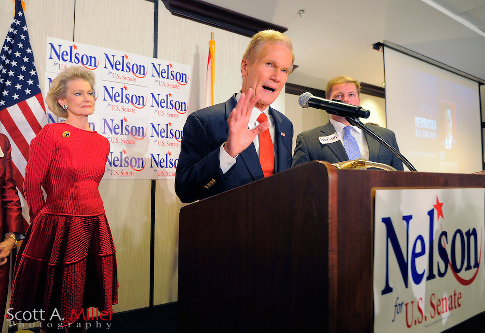 U.S. Sen. Bill Nelson West (R-FL) addresses supporters during his victory rally in Orlando, Florida, November 6, 2012.  ©2012 Scott A. Miller