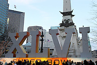 Super Bowl festivities under way in Indianapolis, Indiana. Indianapolis will be hosting the 2012 Super Bowl between the New England Patriots and the New York Giants.