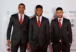 LIVERPOOL, ENGLAND - Tuesday, May 9, 2017: Liverpool's Joel Matip, Joe Gomez and Kevin Stewart arrive on the red carpet for the Liverpool FC Players' Awards 2017 at Anfield. (Pic by David Rawcliffe/Propaganda)