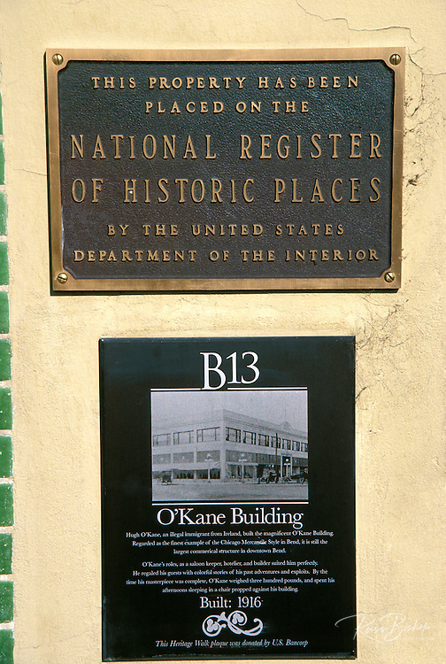 The O'Kane Building National Register of Historic Places plaque and interpretive sign, Bend, Oregon