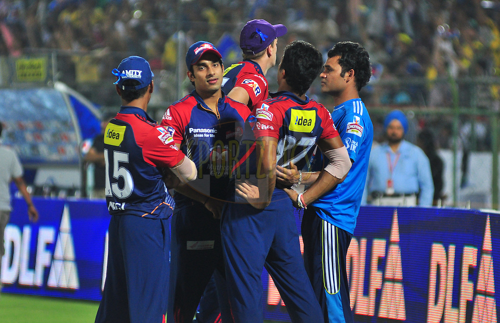 Delhi Daredevils players during match 43 of the the Indian Premier League ( IPL) 2012  between The Rajasthan Royals and the Delhi Daredevils held at the Sawai Mansingh Stadium in Jaipur on the 1st May 2012..Photo by Arjun Panwar/IPL/SPORTZPICS