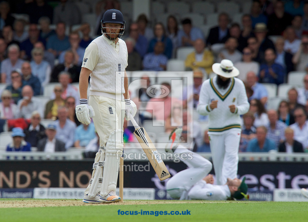 Jonny Bairstow of England looks back in disbelief after being caught by Captain Faf du Plessis of South Africa (on the ground) for 36 runs during the 100th Investec Test Match match at the Kia Oval, London<br /> Picture by Alan Stanford/Focus Images Ltd +44 7915 056117<br /> 28/07/2017