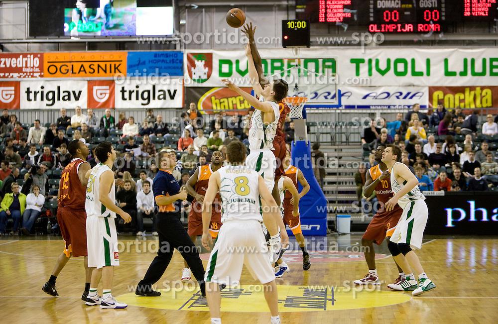 Gasper Vidmar (13) of Olimpija at Euroleague basketball match in 5th Round of Group C between KK Union Olimpija and Virtus Lottomatica Roma, on November 25, 2009, in Arena Tivoli, Ljubljana, Slovenia. (Photo by Vid Ponikvar / Sportida)