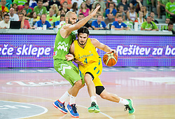 Boban Tomic of Slovenia vs Chris Goulding of Australia during friendly basketball match between National teams of Slovenia and Australia, on August 4, 2015 in Arena Stozice, Ljubljana, Slovenia. Photo by Vid Ponikvar / Sportida