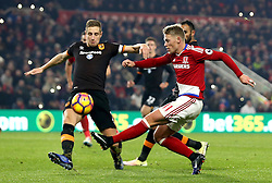 Viktor Fischer of Middlesbrough has his shot blocked by Michael Dawson of Hull City - Mandatory by-line: Robbie Stephenson/JMP - 05/12/2016 - FOOTBALL - Riverside Stadium - Middlesbrough, England - Middlesbrough v Hull City - Premier League