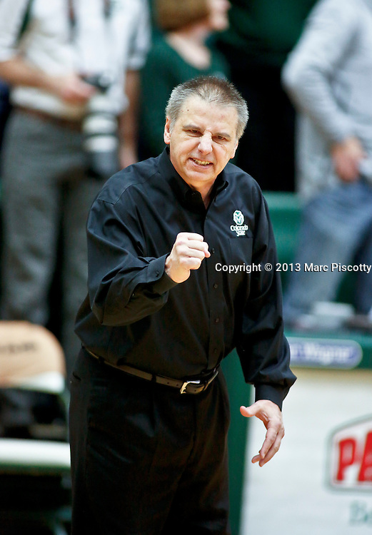 SHOT 2/23/13 3:06:34 PM - Colorado State head basketball coach Larry Eustachy works the sidelines against New Mexico during their regular season Mountain West basketball game at Moby Arena in Fort Collins, Co. on Saturday February 23, 2013. New Mexico won the game 91-82..(Photo by Marc Piscotty / © 2013)