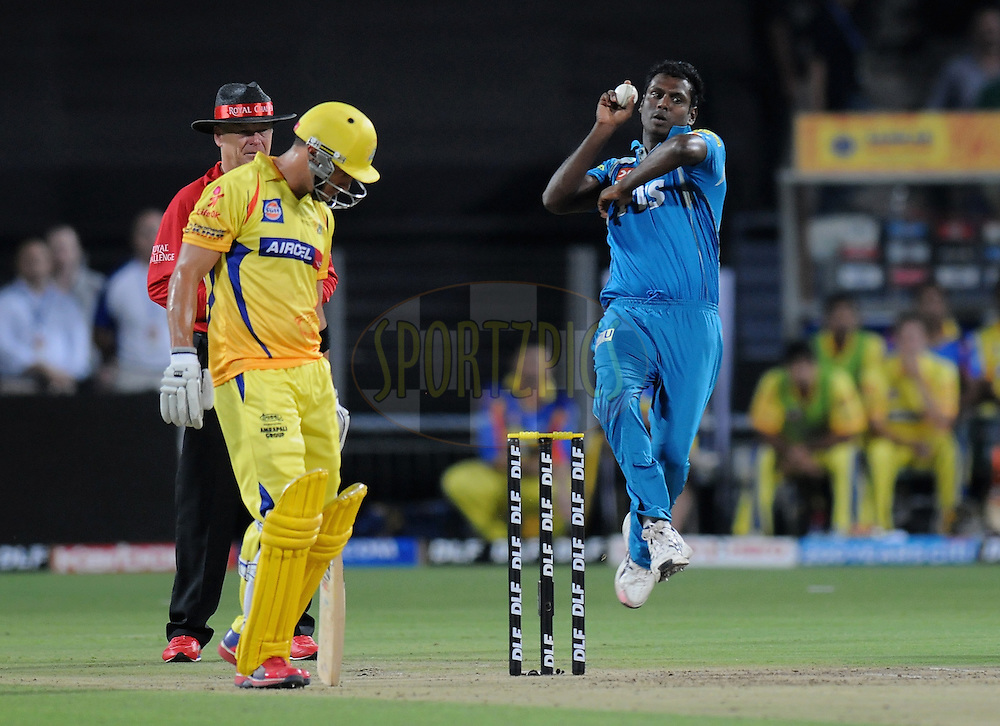 Angelo Mathews of Pune Warriors India bowls during match 16 of the Indian Premier League ( IPL) 2012  between The Pune Warriors India and the Chennai Super Kings held at the Subrata Roy Sahara Stadium, Pune on the 16th April 2012..Photo by Pal Pillai/IPL/SPORTZPICS