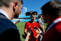 CHARLOTTE, USA - Saturday, July 21, 2018: Liverpool's Ben Woodburn is interviewed by media after a training session at the Bank of America Stadium ahead of a preseason International Champions Cup match between Borussia Dortmund and Liverpool FC. (Pic by David Rawcliffe/Propaganda)