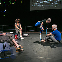 The Way you Look (at me) Tonight ;<br /> CUNNINGHAM AND CURTIS ;<br /> Claire Cunningham (Dancer) ;<br /> Jess Curtis (Choreographer) ;<br />Finn Jones (as audience member) ;<br />Martha Oakes (as audience member) ;<br /> Royal Festival Hall, Southbank ;<br /> 7 September 2016 ;<br /> Credit : Pete Jones / ArenaPal ;<br /> www.arenapal.com