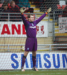 LONDON, ENGLAND - Saturday, February 9, 2013: Tranmere Rovers' goalkeeper Owain Fon Williams prepares to face a penalty kick against Leyton Orient during the Football League One match at Brisbane Road. (Pic by David Rawcliffe/Propaganda)