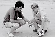 Two friends on Shoreham Beach, UK, 1985