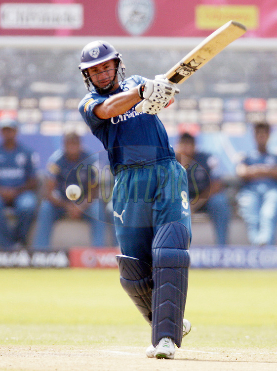 DURBAN, SOUTH AFRICA - 25 April 2009. Herschelle Gibbs plays a shot during the IPL Season 2 match between the Mumbai Indians and the Deccan Chargers held at Sahara Stadium Kingsmead, Durban, South Africa..