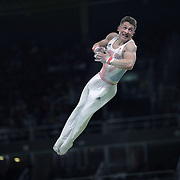 Gymnastics - Olympics: Day 5  Nile Wilson #139 of Great Britain in action during his routine on the Horizontal Bar during the Artistic Gymnastics Men's Individual All-Around Final at the Rio Olympic Arena on August 10, 2016 in Rio de Janeiro, Brazil. (Photo by Tim Clayton/Corbis via Getty Images)