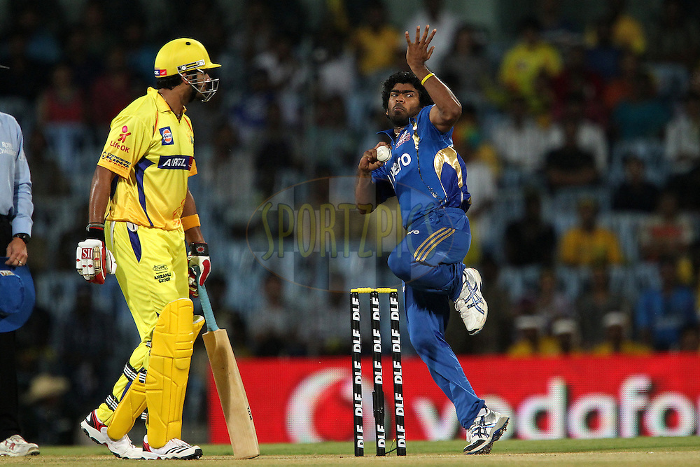 Murali Vijay looks on as Lasith Malinga bowls during match 1 of the the Indian Premier League ( IPL) 2012  between The Chennai Superkings and The Mumbai Indians held at the M. A. Chidambaram Stadium in Chennai on the 4th April 2012..Photo by Ron Gaunt/IPL/SPORTZPICS