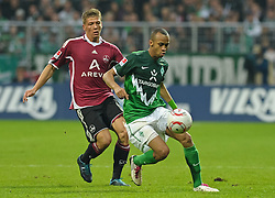 30.10.2010, Weserstadion, Bremen, GER, 1. FBL, Werder Bremen vs 1. FC Nürnberg / Nuernberg, im Bild Mike Frantz (Nuernberg #17), Wesley (Bremen #5)   EXPA Pictures © 2010, PhotoCredit: EXPA/ nph/  Frisch+++++ ATTENTION - OUT OF GER +++++