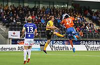 fotball, tippeliga, eliteserien, start, sarpsborg  28.september 2014<br /> Glenn Andersen, Start<br /> Duwayne Kerr, Sarpsborg<br /> Foto: Ole Fjalsett
