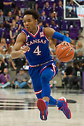FORT WORTH, TX - FEBRUARY 6: Devonte' Graham #4 of the Kansas Jayhawks drives to the basket against the TCU Horned Frogs on February 6, 2016 at the Ed and Rae Schollmaier Arena in Fort Worth, Texas.  (Photo by Cooper Neill/Getty Images) *** Local Caption *** Devonte' Graham