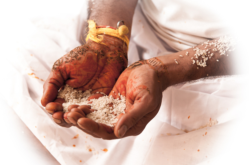 It is believed that the color of mehndi signifies the essence of love in a marriage, so it is put on bride's hand to strengthen that bond of love. The bride's family and friends mainly celebrate this ceremony. The female friends and family members of the bride rejoice and celebrate this occasion, as henna gets painted on her hands and feet. Apart from the bride, the family members also get their hands painted with henna. Singing traditional songs and dancing to the beat of music forms a major part of this ritual.