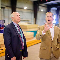 U.S. Representative for New Mexico 2nd congressional district and gubernatorial candidate Steve Pierce, left, visits with <br /> Deputy Director, Project Office at Southwest Indian Foundation Jeremy Boucher at Southwest Indian Foundation manufacturing in Gallup Wednesday.