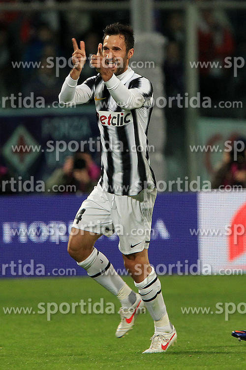 17.03.2012, Stadion Artemio Franchi, Florenz, ITA, Serie A, AC Florenz vs Juventus Turin, 28. Spieltag, im Bild Jubel von Mirko Vucinic Juventus, Goal celebration, // during the football match of Italian 'Serie A' league, 28th round, between AC Florenz and Juventus Turin at Stadium Artemio Franchi, Florence, Italy on 2012/03/17. EXPA Pictures © 2012, PhotoCredit: EXPA/ Insidefoto/ Paolo Nucci..***** ATTENTION - for AUT, SLO, CRO, SRB, SUI and SWE only *****