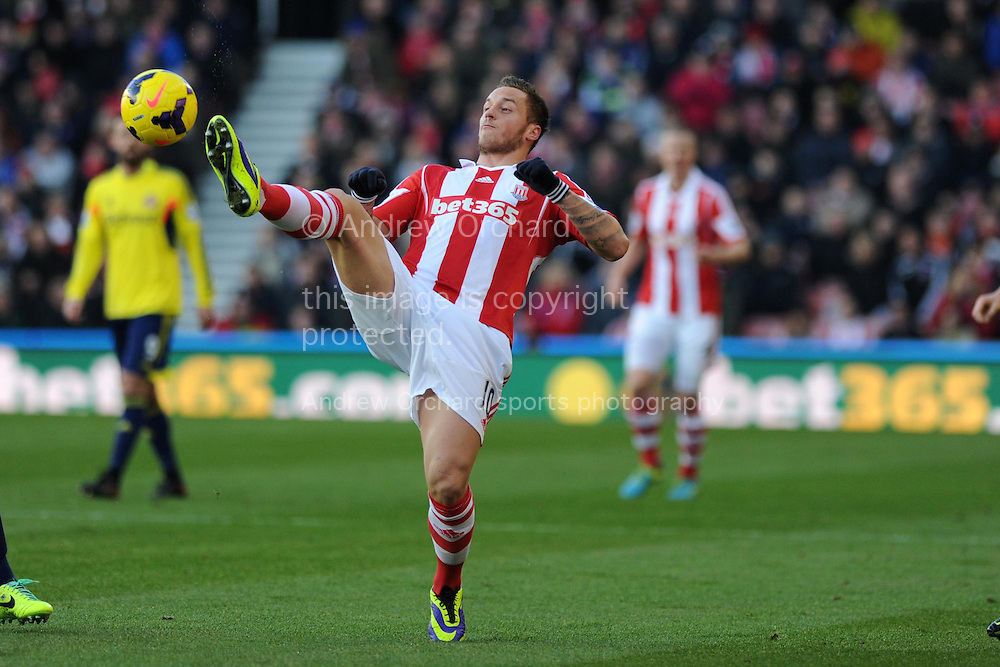 Stoke city's Marko Arnautovic in action. Barclays Premier league, Stoke city v Sunderland at the Britannia stadium in Stoke on Trent, England on Saturday 23rd Nov 2013. pic by Andrew Orchard, Andrew Orchard sports photography,
