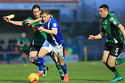Steven Davies challenged by Josh Morris during the EFL Sky Bet League 1 match between Rochdale and Scunthorpe United at Spotland, Rochdale, England on 10 December 2016. Photo by Daniel Youngs.