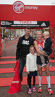 Paula Radcliffe with her family immediately after completing her last marathon in The Virgin Money London Marathon, Sunday 26th April 2015.<br /> <br /> Roger Allen for Virgin Money London Marathon<br /> <br /> For more information please contact Penny Dain at pennyd@london-marathon.co.uk