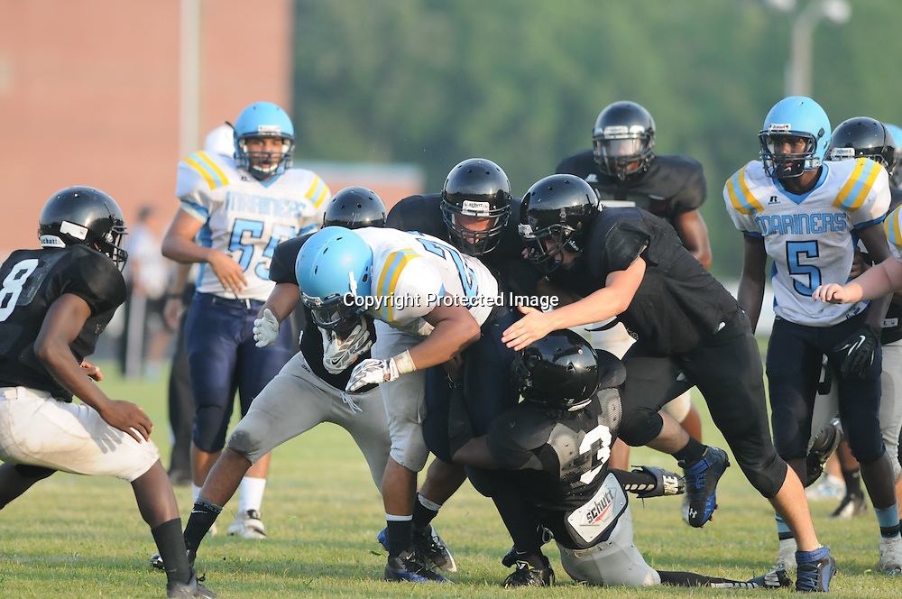 East Carteret played Trask High School in the second game of The Pender County Jamboree Saturday August 16, 2014 at Trask High School. (Jason A. Frizzelle)
