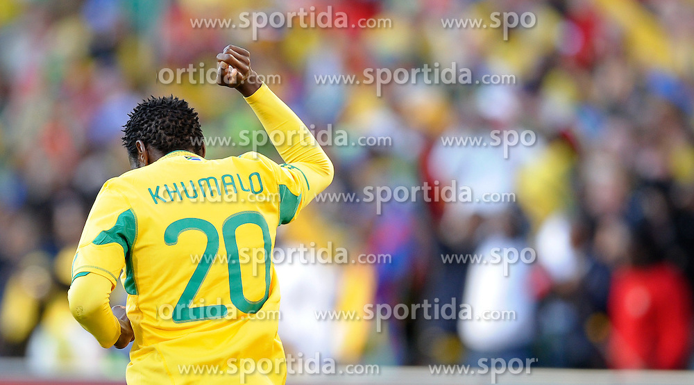 Bongani Khumalo of South Africa celebrates after scoring the 1st goal, France v South Africa, FIFA World Cup 2010 Group A, Free State Stadium, Bloemfontein, South Africa, Date 22062010 Picture by Marc Atkins Mobile +27 8200 97621 (IPS PHOTO AGENCY) - 21 Delisle road - London SE28 0JD- tel: 020 88 55 1 008 - fax: 020 88 55 1037 - ISDN: 020 88 55 1039. / SPORTIDA PHOTO AGENCY
