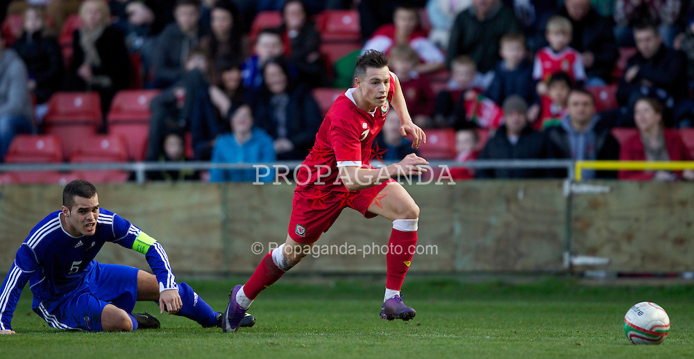 WREXHAM, WALES - Wednesday, February 29, 2012: Wales' Billy Bodin (Swindon Town) and Andorra's captain Alex Roca (FC Andorra) during the UEFA Under-21 Championship Qualifying Group 3 match at the Racecourse Ground. (Pic by Vegard Grott/Propaganda)