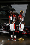 2010.08.24 BENGALS BATMANANDROBIN SPORTS : Photo shoot with Terrell Owens and Chad Ochocinco as Batman and Robin with an replica Batmobile from the 1960's television show Tuesday August 24, 2010. The Enquirer/Jeff Swinger